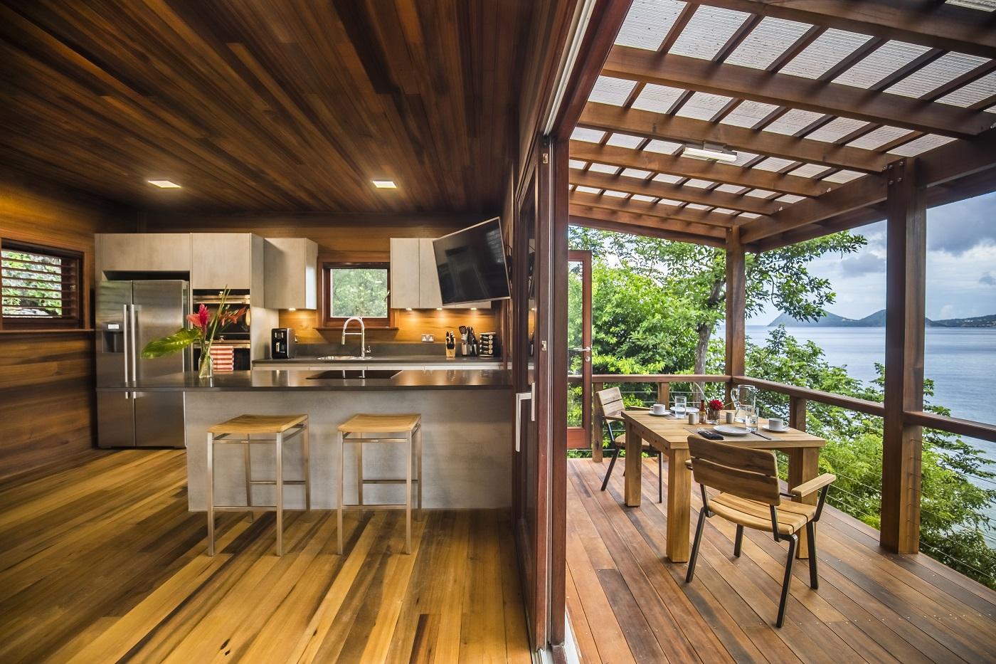 Secret Bay's Ti-Fey Villa Kitchen and Balcony